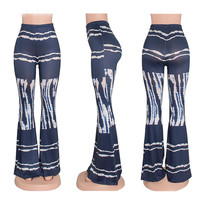 Printed Slim Flared Trousers in Multicolor
