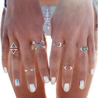 Fashion Vintage Turkish Arrow Moon Turquoise Joint Knuckle Nail Midi Ring Set