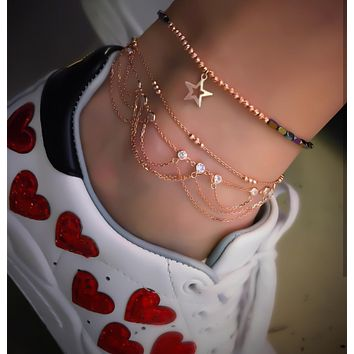 Multi Chain Dangle Body Chain Adjustable Anklet| 925 Sterling Silver
