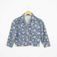 Vintage 90s Grunge Rare GUESS Daisy Floral Print Cropped Denim Blue Jean Jacket 3/4 Length Sleeves Size Womens XSmall Small