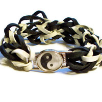 Yin Yang Stretch Bracelet, Black and White - Made w/ Rubber Bands - Healing Energy Chinese Charm Bracelet