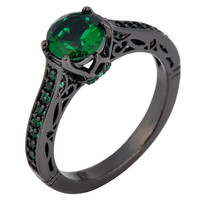 5ct Women Fashion Jewelry Emerald Green Size 6/7/8/9/10 18 KT Black Gold Filled Zircon Ring Engagement Rings New RB0128 = 1931891844