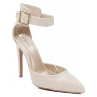 Qupid Virtue-01 Faux Patent Leather Pointy Toe Ankle Strap Pumps NUDE