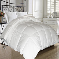 Microfiber Cover Natural Feather Down Fiber Blend Comforter White