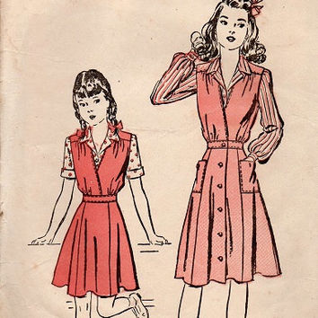 1940s Advance Sewing Pattern WWII Style Girls Jumper Dress Long Sleeve Blouse Flared Skirt Deep V Neck Breast 24