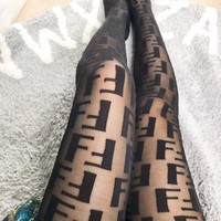 Fendi Fashion Women Black Tights