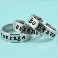 courage / strength / Be Brave - Flat Cuff  Ring, Hand Stamped Aluminum Ring, Best Gift Ring