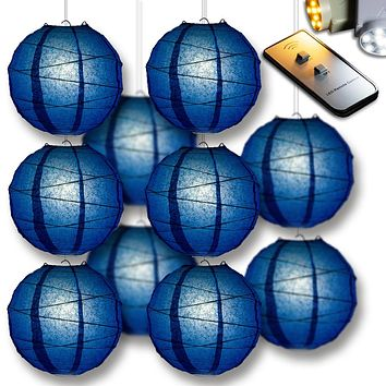 Navy Blue Crisscross Paper Lantern 10pc Party Pack with Remote Controlled LED Lights Included