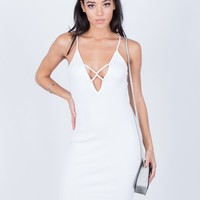 Plunging Lace-Up Dress