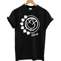 Women Tshirt Harajuku BLINK 182 Rock Band Letters Print Funny Cotton Shirt For Lady Top Tee Hipster Whtie Black BZ20-206
