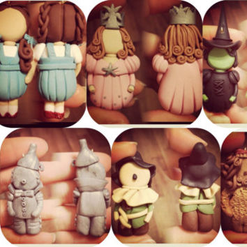 Wizard of Oz Set of 8 figures, handmade, ornaments, miniature, cake topper, polymer clay