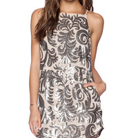 Capulet Embroidered Baroque Shift Dress in Metallic Silver