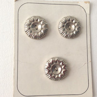 Set of three Vintage Metallic Silver Buttons-  Sun or Starburst Pattern