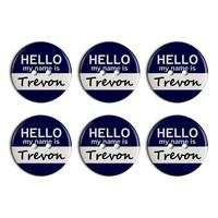 Trevon Hello My Name Is Plastic Resin Button Set of 6