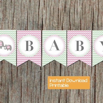 Baby Shower Banner Mint Green Pink Chevron Elephant Printable DIY pdf Sweet Baby Shower Party Supplies Decorations Girl INSTANT DOWNLOAD 040