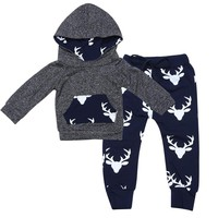 Fashion Baby Clothes Set Toddler Infant Boys Deer Long Sleeve T-shirt Hoodie Tops+Casual Pants Outfits Set Autumn Boys Clothes