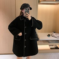 Fashion women's loose long sleeve medium and long woolen coat