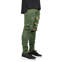 Men Zipper Destroyed Casual Jeans Stretch Fashion Army Green Ripped Men Stretch Feet Skinny Jeans