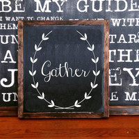 Gather wreath sign wood sign home decor rustic distressed Thanksgiving sign, fall decor, Autumn decor seasonal signs chalkboard style sign