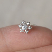 snowflake note nose ring,sterling silver nose ring,L shaped nosering,bestfriend gift