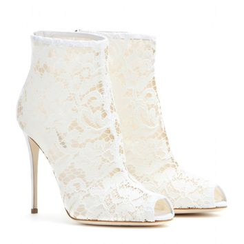 Lace peep-toe ankle boots