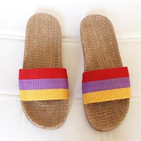 Anti-slip Linen Slipper Summer Striped Women Indoor Home Shoes Straw Ladies Flat with Flax Bedroom Slippers Zapatos