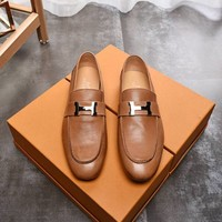 Hermes Men's Genuine Leather Fashion Sneakers Shoes