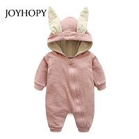 JOYHOY Baby Romper children kids Cute Rabbit Hooded Long Sleeve Jumpsuit Baby Product ,Cotton born Baby Rompers