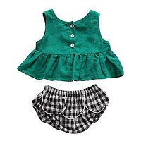 born Baby Girls Clothing Toddler Infant Baby Girl Clothes Sleeveless Tops+ Plaid shorts Outfits Sun suit