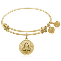 Expandable Bangle in Yellow Tone Brass with Triquetra Connections Unity Symbol