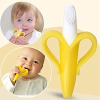 Silicon Banana Bendable Baby Teether Training Toothbrush Toddler Infant Massager Children Teething Ring