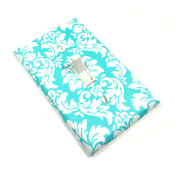 Teal Damask Light Switch Cover, Turquoise Damask, White and Teal Damask, Switchplate, Switch Plate 1597
