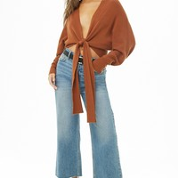 Tie-Front Batwing Sweater