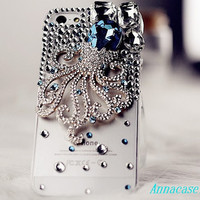 iphone case, i phone 4 4s 5 case, iphone4 iphone4s Bling Crystal  Phone 5 case vintage old style octopus Rhinestone Crystals Cover