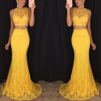 Yellow 2 Piece Prom Dresses 2016 Vestidos De Gala O-Neck Mermaid Dress Turquoise Sexy Girls Lace Evening Dresses Party Gowns