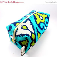 15% SALE Aqua and Lime Green Ikat Makeup Bag, Zipper, washable, travel, zigzag, pencil case, on the go, under 15, orange, yellow, sqaure