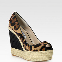 Brian Atwood - Cailey Leopard-Print Pony Hair & Leather Espadrille Wedges