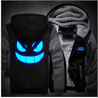 Anime Hoodie Harajuku Sweatshirts Men 2018 New Fashion Winter Warm Night Lights Zipper Hooded Hoodies Mens Jacket Tracksuit Coat