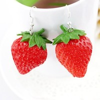 Fashion Design Cute Vivid Red Strawberry Drop Earrings for Women Wholesale Costume Jewelry