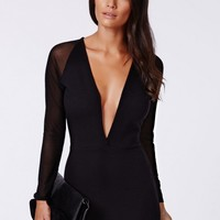Missguided - Fearne Mesh Sleeve Ribbed Plunge Dress Black