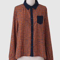 Me Oh My Pleated Back Blouse In Orange