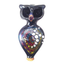 Hand Blown Glass Owl Pipe