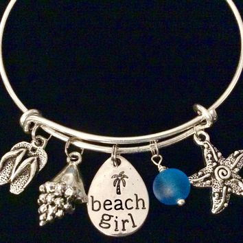 Beach Girl Jewelry Sea Glass Nautical Charm Bracelet Sea Shell Flip Flop Silver Expandable Adjustable Wire Bangle Bracelet Stacking One Size Fits All Gift