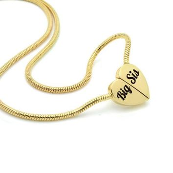 "Gold Heart Big Sister Necklace on Magnet Connectors Engraved with ""Big Sis"""