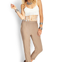 FOREVER 21 Classic Woven Twill Trousers Taupe
