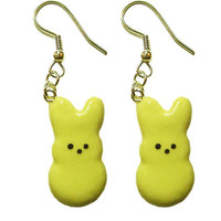 Yellow Marshmallow Bunny Earrings - Cute Easter Jewelry - Rabbit charm, candy, cute kawaii miniature food