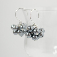 Small Gray Faux Pearl Beaded Cluster Dangle Earrings - Handmade Bridal Jewelry - Bridesmaid Gift - Wedding Jewelry - Ready to Ship