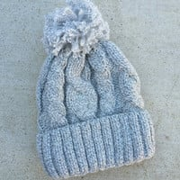 Fleece Lined Gray Sweater Knit Pom Beanie