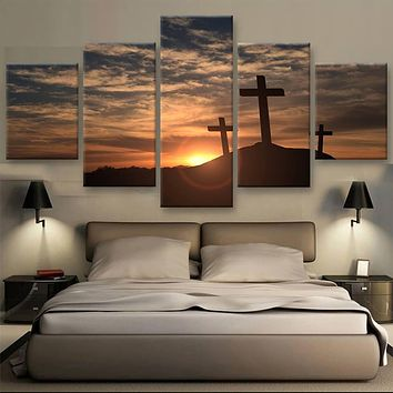 5 panels print crosses at sunset painting modern home decor Wall Art Picture seascape canvas Painting on Canvas art /PT0729