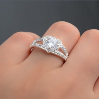 Heart Cubic Zirconia Engagement Ring size 9